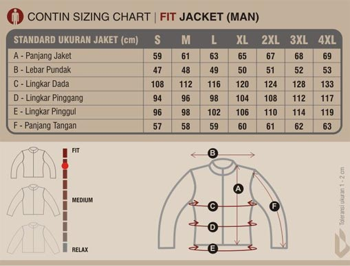 tabel ukuran jaket contin